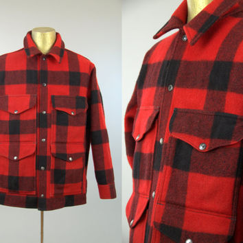 60s Filson Buffalo Check Shadow Plaid Wool Cruiser Hunting Jacket