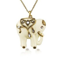 Vintage Inspired Faux Cream Ivory Indian Elephant Rhinestone Art Pendant Necklace