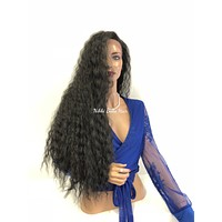 Black Wavy Long Swiss Lace Front Wig 518