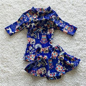 Childrens Swimsuit Cute 2017 new girl  big child long-sleeved warm hot spring swimwear sunscreen beach clothes children    KO_25_2
