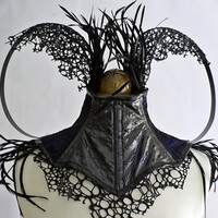 Black feather, Steel Boned, 'Lizard Skin', Neck Corset with Blue/Black fabric