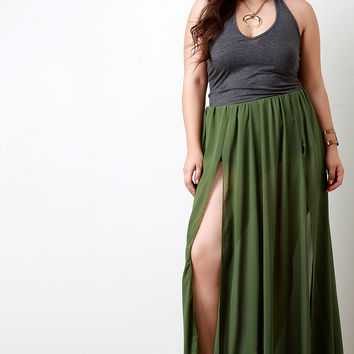 Double Slit High Waisted Chiffon Maxi Skirt