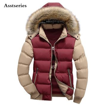 8 Color Fashion Brand Winter Men's Down Jacket With Fur Hood Hat Slim Men Outwear Coat Casual Thick Mens Down Jackets 4XL