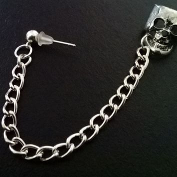 Gothic skull chained silver ear cuff stud earring