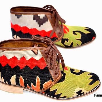 20% OFF EU 40 US 9.5 Woman kilim booty, leather ankle boots, vintage, booties, slippers, shoes, oxfords, ethnic, bohemian, Nomads, footwear