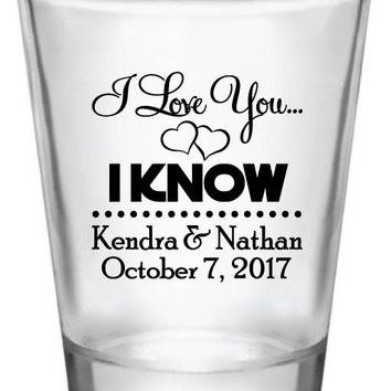 Star wars wedding shot glasses, i love you i know design, personalized favors
