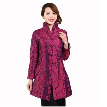Purple Chinese Style Women Silk Satin Jacket Embroidery Coat Autumn Winter Windbreaker Tang Suit Top Plus Size 4XL 5XL T045