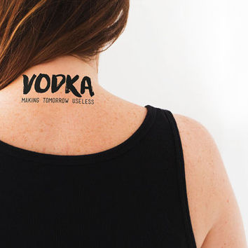 "Temporary Tattoo ""Drink Vodka"" Party Tattoo 