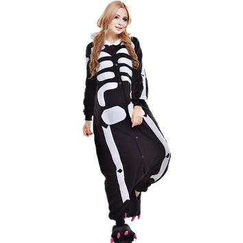 Unisex Adult Pajamas Cosplay Costume Animal Onesuit Sleepwear Suit    Human skeleton