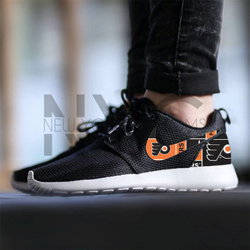 Philadelphia Flyers Hockey Nike Roshe Run Black Custom