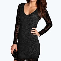 Zoe Flocked V Neck Bodycon Dress