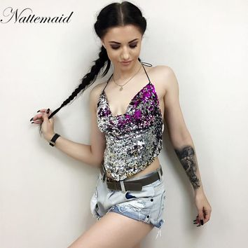 New Women Sexy Metal Crop Top Bright Sequined halter  Top Nightclub Wear v neck pleat Backless Tops