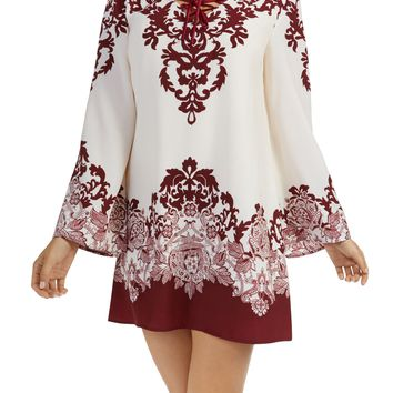 Teeze Me | Long Sleeve V Neck Printed Shift Dress | Cream/Burgundy