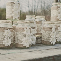 3 Romantic and rustic burlap and lace mason jar decoration/Party favor/ Rustic wedding