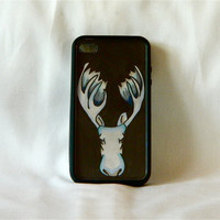 I'll be Moosing You, iPhone case, iPhone cover, iPhone 4/4s, moose head, hipster, unique, blue, black, men, antlers, changeable art, cute