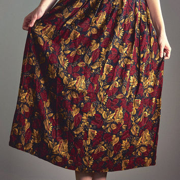 Vintage 90s Pendleton Autumn Floral High Waist Long Skirt