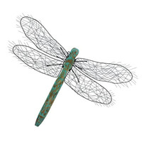 "Metal Wood Dragonfly Decor 33""W, 24""H"