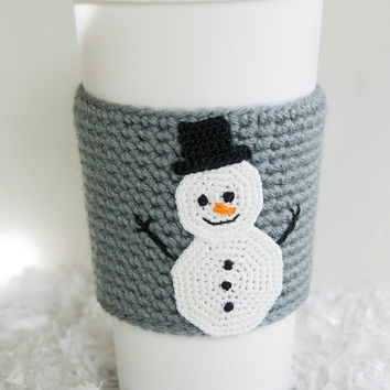 Cup Sleeve, Coffee cozy, crochet appliqued snowman, christmas, winter, carrot nose, crochet gray colored sleeve, stocking stuffer