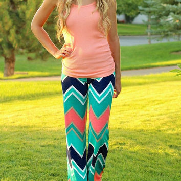 Geometric Zig Zag Pattern Wide Leg Pants