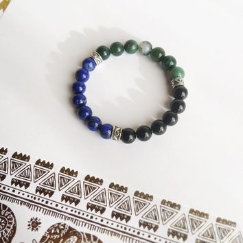 3 Cycles - Release/Starting Again/Grounding - Black Onyx, Lapis Lazuli and Moss Agate Bracelet, Men's Jewelry, Father's