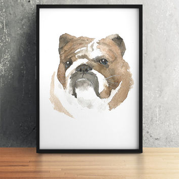 Bulldog print Dog watercolor Cute nursery art ACW59