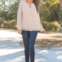 Put In The Hours Blouse, Beige