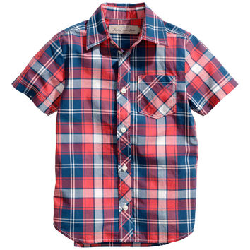 H&M - Short-sleeved Cotton Shirt - Red/checked - Kids
