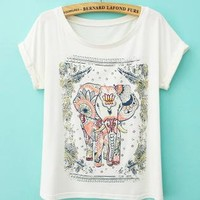 Vintage Lovely Cute Elephant Print T-shirt