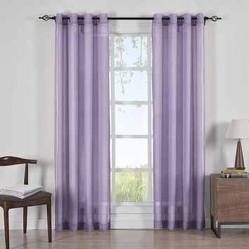 LAVENDER 50x63 Abri Grommet Crushed Sheer Curtain Panels (Set of 2)
