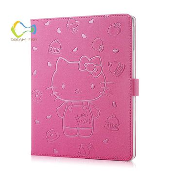 DREAM FISH Hello Kitty Embossing Cover Case For iPad Air 2 PU Leather Protective Smart Flip Stand Case For iPad 6 Tablet