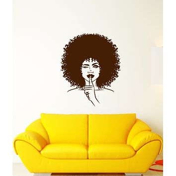 Vinyl Wall Decal African Girl Hairstyle Makeup Shh Beauty Salon Stickers (3793ig)