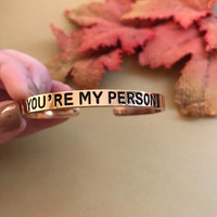 "Gold ""You're My Person"" Adjustable Bar Bangle Bracelet Grey's Anatomy TV Show Gift BFF/Sister/Sorority Christmas Gift"