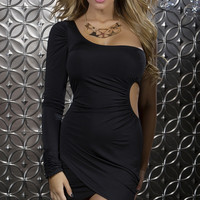 Black Off the Shoulder One Sleeve Mini Dress