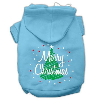 Scribbled Merry Christmas Screenprint Pet Hoodies Baby Blue Size XL (16)
