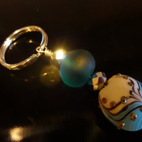 Tranquility, Aqua Blue Keychain, Lampwork Key Ring, Handmade, Gift Under 10