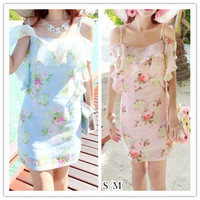 S/M Pink/Blue Enjoy Holiday Floral Dress SP152364