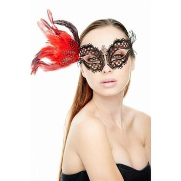 Feather Laser Cut Mask - Black and Red