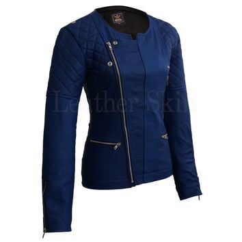 Women Blue Quilted Leather Jacket