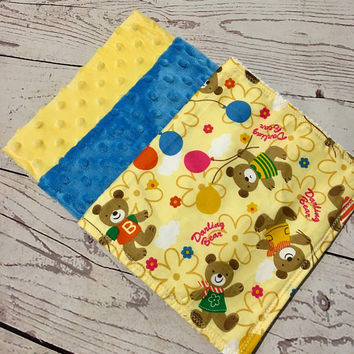 Baby Burp Cloths,Handmade Baby Gift,Burping Baby,Baby Shower Gift,Burp Rags,Minky Burp Cloths,Baby Accessories,Bear Prints,Yellow and Blue