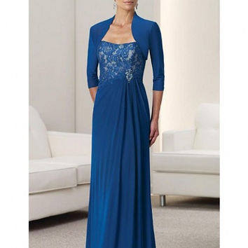 Vintage Chiffon Pants Suit Wedding 2016 Long Strapless Mother of the Bride Dresses with Jacket Custom Size