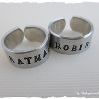 Batman Robin - Matching Hand Stamped Rings
