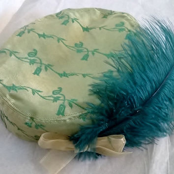 Green Satin Pill Box Style Hat with Feather and Bow