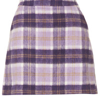 Lilac Check A Line Short Skirt