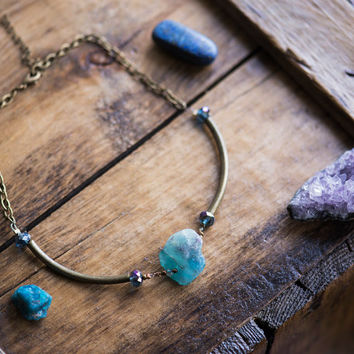 AURORA BORIALIS CHOKER - Swarovski Crystal Rainbow Fluorite Trendy Boho Chic Necklace Natural Raw Gemstone Jewelry Healing bronze tube