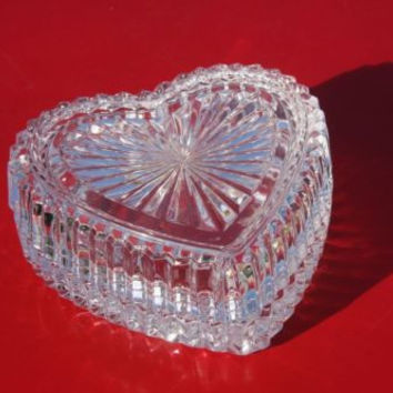 Press Glass Heart Shaped Heavy Decorative Trinket Box Candy Dish