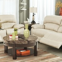2 pc Damacio collection cream colored leather match upholstered sofa and love seat set with recliners on the ends