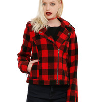 Red & Black Plaid Moto Jacket
