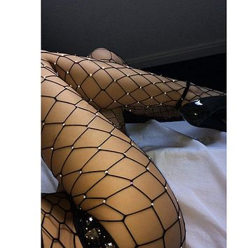 Diamond Rhinestone Fishnet Slim Leggings