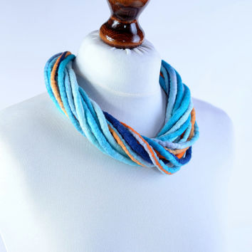 Thick, blue and orange fiber necklace made of twisted felt ropes - multistrand rope jewelry - twist, multi strand rope necklace [N130]