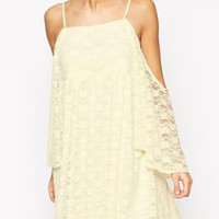 Straps Horn Sleeve Loose Off Shoulder A-line Lace Mini Summer Dress